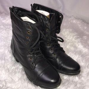 Steve Madden Black Leather Combat Boots size 8
